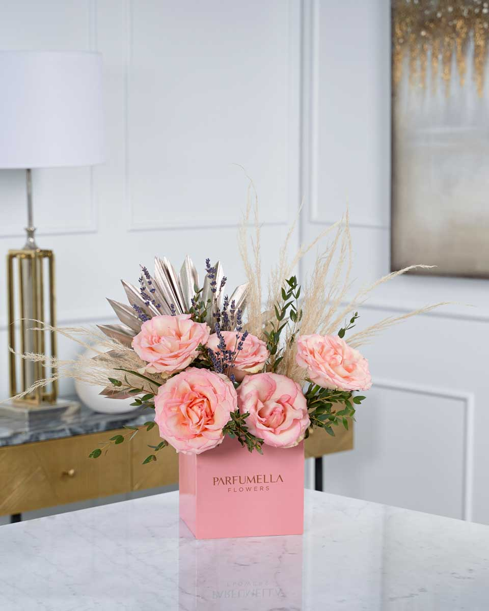 laveder and roses on pink box