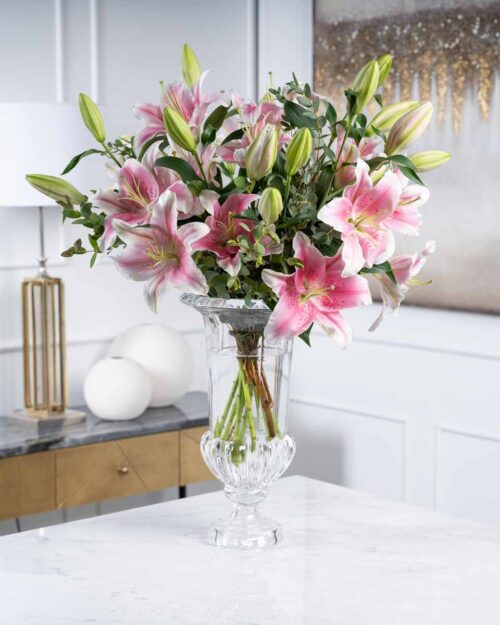 Lilies on Glass Vase